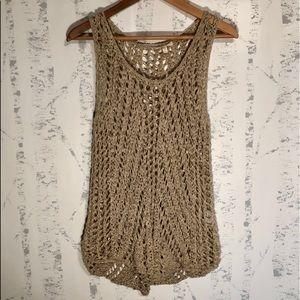 Eileen Fisher Crochet Linen Blend Tank Beige Sz L